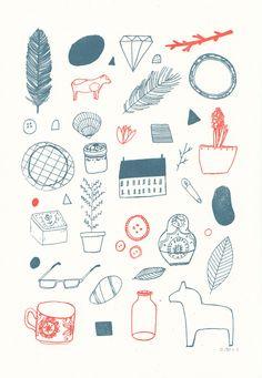 In My Room Gocco Print, Lizzy Stewart