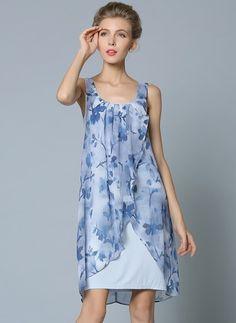 Chiffon Floral Sleeveless Above Knee Elegant Dresses (1014027) @ floryday.com
