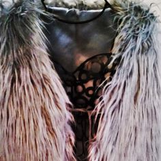 "Faux Fur Vest - Grey Hairy Faux Fur Vest with string closure and satin lining.  Small/Petite. Fold size 18"" H x 20"" W, weight 6.2 oz Jackets & Coats Vests"
