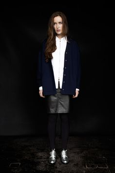 Carolyn Donnelly The Edit oversized cardigan, black leather skirt, zipped white shirt and silver brogues Silver Brogues, Black Leather Skirts, Oversized Cardigan, What To Wear, Women Wear, Dressing, Normcore, Passion, Shirts