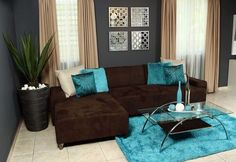 decoracion living azul y gris ile ilgili görsel sonucu Living Room Turquoise, Teal Living Rooms, Brown Couch Living Room, Living Room Colors, Home And Living, Living Room Designs, Dark Brown Couch, Chocolate Living Rooms, Home Interior