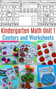 Kindergarten Number Worksheets and Math Centers Number Worksheets Kindergarten, Kindergarten Lessons, Kindergarten Activities, Preschool Activities, Daily Math, Stem Projects, Montessori Activities, Math For Kids, Math Centers