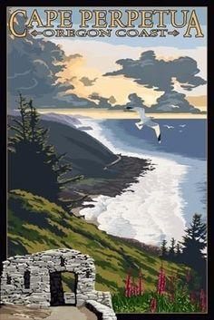 Cape Perpetua - Oregon Coast - Lantern Press Poster