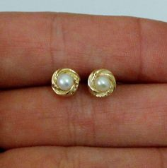 14K Yellow Gold and Pearl Earrings by onetime on Etsy, $12.25