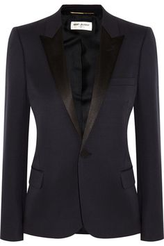 Saint Laurent Silk satin-trimmed wool blazer! Oh how I need this!