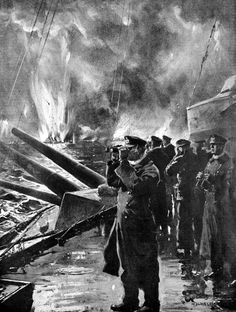 """World War I, the Battle of Jutland, 1916. German officers aboard a warship observing the demise of the English vessels that they sunk Drawing by Claus Bergen, """" Illustrierte Zeitung"""" of Leipzig. Credit: Albert Harlingue"""