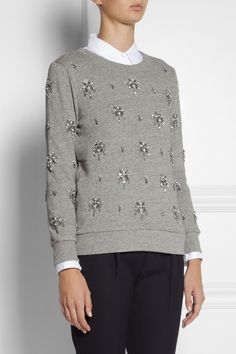 J.Crew | Crystal-embellished cotton sweatshirt