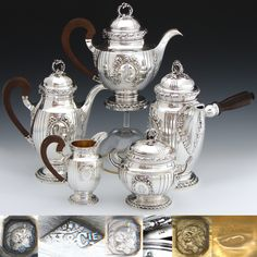 Exquisite & RARE 5pc Antique French Sterling Silver Coffee & Tea Set: 3 Pots, Cream & Sugar
