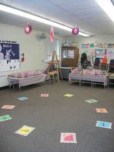 Cake walk decorations and nice cake tables! maybe use cupcakes so everybody can get one?