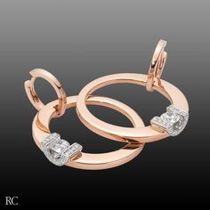 Fantasy earrings in 18k rose gold and diamonds. By Roberto Coin.