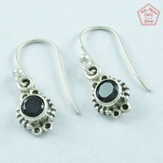SilvexImages 925 Sterling Silver Black Onyx Stone Passion Earrings 5123 #SilvexImagesIndiaPvtLtd #DropDangle