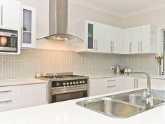 White Kitchen And Funky Tiled Splashback Tiles Design Ideas