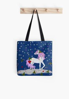 Christmas unicorn Christmas tote bag unicorn bags Christmas