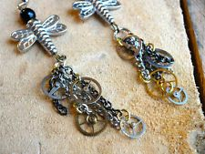 Steampunk Antique Pocket Watch Gear with Dragonfly Earrings -- FREE SHIPPING!!!