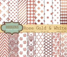 Rose Gold and White Digital Paper by Origins Digital Curio on @creativemarket