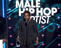 Kendrick Lamar accepts the award for best male hip hop artist at the BET Awards at the Microsoft Theater on Sunday, June 28, 2015, in Los Angeles. (Photo by Chris Pizzello/Invision/AP)