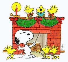 SNOOPY CONDUCTING THE WOODSTOCKS' CHORUS IN FRONT OF THE FIREPLACE!  -  Pinned 12-4-2016.