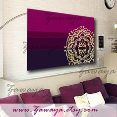 purple fuchia shades home decor canvas art painting by Zawaya, $65.00