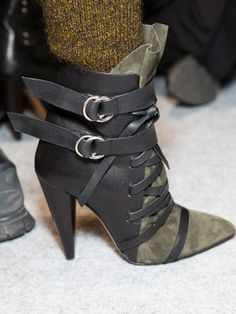 Lace Up Buckle Strap Heeled Boots with Army Green Suede Panel | Choies