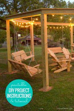 Backyard Swings, Pergola Swing, Outdoor Pergola, Outdoor Decor, Pergola With Swings, Outdoor Swings, Garden Swings, Outdoor Living, Backyard Pergola