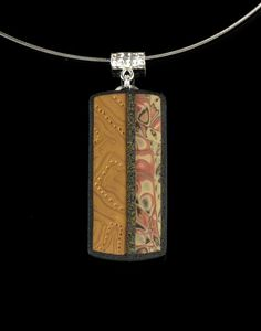 Polymer Clay Mokume Gane and Mica Shift Pendant Necklace - Polymer Clay -Jewelry - Art Jewelry