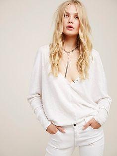 Camilla Christensen    FP WE THE FREE Santa Cruz Semi-Sheer Long Sleeve Henley Tee (White)