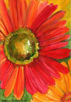 Original Red Gerbera Daisy Painting   by SharonFosterArt on Etsy, $12.00