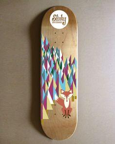 I like this board because it is very unique and creative. I like the fox starring out and what appears to be a forest with multiple different colors. I think it is abstract and simple at the same time. Slinky Skateboards Winterwonderland Skateboard