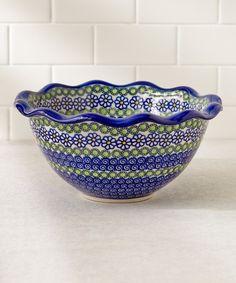 Lidias Polish Pottery Blue Daisies Fala Scallop Bowl | zulily