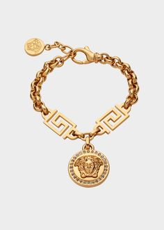 Icon Medusa Bracelet from Versace Women's Collection. Gold tone bracelet with Medusa Swarovski charm and Greek Key detailing. Versace Bracelet, Versace Jewelry, Luxury Jewelry, Modern Jewelry, Cute Jewelry, Bridal Jewelry, Gold Jewelry, Jewelry Bracelets, Jewelry Accessories