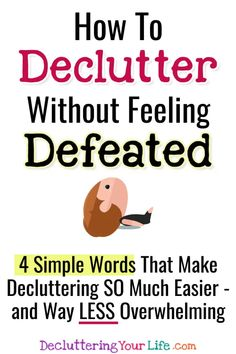 Decluttering your home but feeling OVERWHELMED? Try these Declutter Club Declutter Challenge Ideas to STOP overwhelming feelings! Getting organized at home is SO much easier with these 4 words! Decluttering Ideas Feeling Overwhelmed, Getting Organized At Home, Display Family Photos, Feeling Defeated, Clutter Solutions, Clutter Control, Clutter Free Home, Life Organization, Organizing Ideas