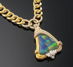 -Dunay- Black Opal – Diamond Necklace – Designer jewelry- high end- Luxury jewels – M. Opal Necklace, Opal Jewelry, Luxury Jewelry, Gold Jewelry, Fine Jewelry, Jewellery, Expensive Jewelry, Opal Gemstone, Black Opal