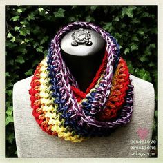 Rainbow Infinity Scarf by peacelovecreations on Etsy, $27.00