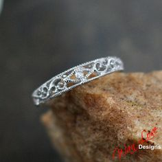 Filigree Milgrain diamond Band ring Set Gold white-yellow-rose-Custom made your size-Wedding-Engagement-Anniversary-Layaway plans