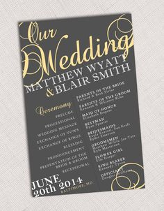 Wedding Program or Menu by HummingbirdShops on Etsy - Hochzeit Wedding Stationary, Wedding Programs, Wedding Invitations, Wedding Venues, Wedding Photos, Destination Wedding, Wedding 2015, Our Wedding, Dream Wedding