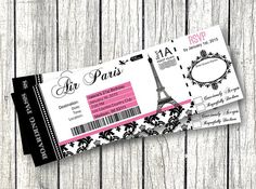 Paris Passport Invitation Template Beautiful Paris Boarding Pass Invitation Diy Editable by Pinkpoproxx Paris Themed Birthday Party, Paris Party, Birthday Party Invitations, 10th Birthday, Baby Birthday, Birthday Cakes, Party Favors, Sweet 16, Sweet Fifteen