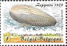 belgian stamps From Blériot till De Winne. Zeppelin around the world