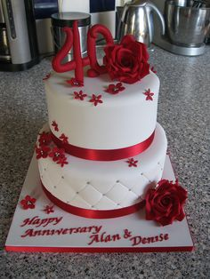 40th wedding anniversary cake ruby by Rachel Manning Cakes, via Flickr