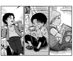 Look at Levi... Thats so sad! ;-; Yet Eren and Erwin have such happy pasts (until the titans).