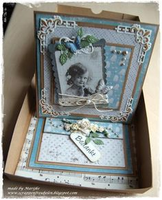 easel card in gift box Easel Cards, Photo Layouts, Decorative Boxes, Card Designs, Personalized Items, Frame, Handmade, Gifts, Scrapbooking