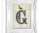 Dictionary print Ornate Letter G typography art on vintage dictionary book page art print Text ART Initial monogram G with Yellow Bird 5x7
