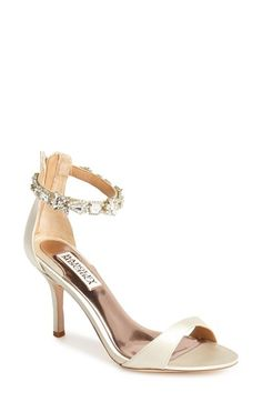 Badgley Mischka satin and jeweled strap wedding shoes