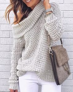 DaysCloth New Grey Plain Long Sleeve Casual Going out Pullover Sweater Casual Sweaters, Pullover Sweaters, Sweaters For Women, Oversized Cable Knit Sweater, Long Sweaters, White Sweaters, Mode Outfits, Casual Outfits, Fashion Outfits