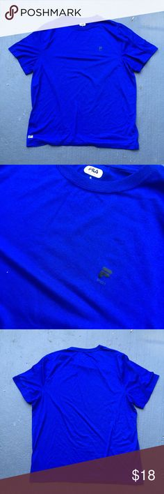 Royal blue fila tee Excellent condition  No stains no damages no holes  Fits perfect to size  Willing to negotiate offer  Come check out the rest of my closet   Vintage vtg retro 90s Fila Shirts Tees - Short Sleeve