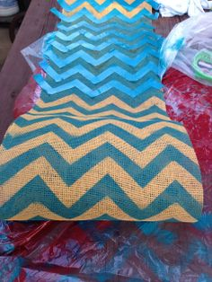 DIY Chevron Burlap Table Runner | from My Blissful Space
