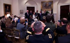 Helen Loring Ensign accepts the Medal of Honor from President Barack Obama on behalf of 1st Lt. Alonzo Cushing's family at a White House ceremony on Nov. 6, 2014. Ensign is Cushing's first cousin two generations removed. Cushing was killed making at stand against Confederate soldiers at the Battle of Gettysburg on July 3, 1863.Sorry feel need to add remember the man and forget banging on about the politicians. Like or hate him he is the nation's elected leader honouring a real hero.