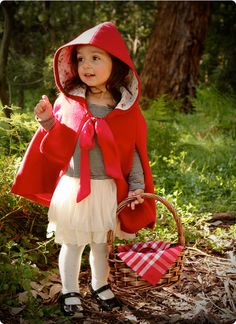 little red riding hood, easy DIY tutu skirt with red jacket/raincoat (For my baby birthday book idea of doing photobook fairy tales starring my children!)