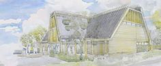 Watercolour perspective of Jordans Mill. By Roderick James Architects