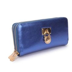 Cheap And Fashionable Michael Kors Hamilton Continental Lock Large Blue Wallets Makes You More Elegant And Outstanding! #fashion