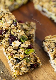 Cranberry Pistachio Granola Bars | Why do most granolas have tons of sugar?! Skip or substitute the brown sugar in this recipe to make it much healthier for you.